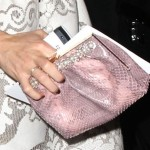 Cameron Diaz Wears a Pink Snakeskin Leather Clutch Bag to Valentino Fashion Show