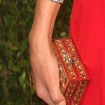 Diane Kruger's Tiny Gold Box Clutch Embellished With Austrian Crystals