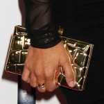 Kourtney Kardashian's Stand-Out Accessory: Metallic Gold Box Clutch